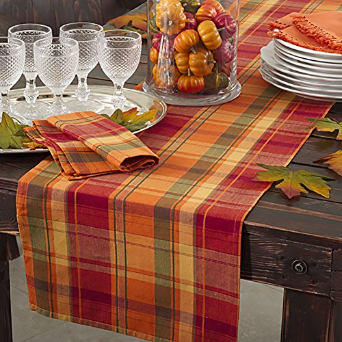 (Occasion Gallery Terracotta Orange Holiday Harvest Plaid Design Cotton Runner. 16