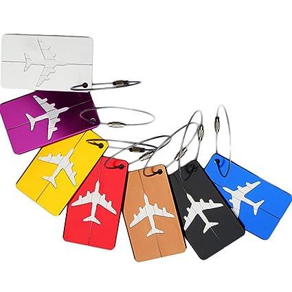 NUOLUX: 7 etiquetas para maletas y bolso de mano, 7 colores, aluminio,