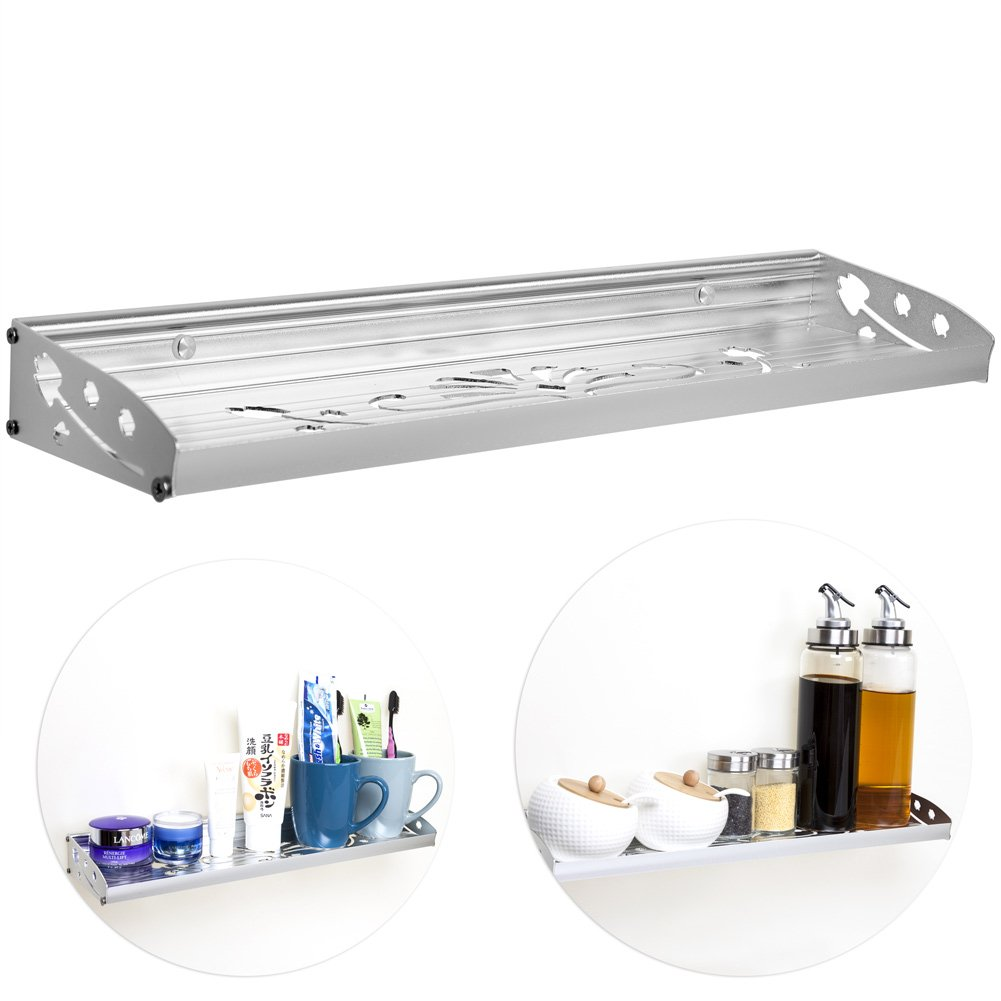 ChasBete Floating Shelf Aluminium Rack Modern Rustic Style Kitchen Spice Wall Mounted Shower Storage Organizer,Silver