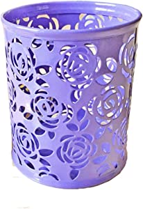 Yueton Hollow Rose Flower Pattern Metal Pen Pencil Pot Cup Holder Desk Container Organizer (Light Purple)