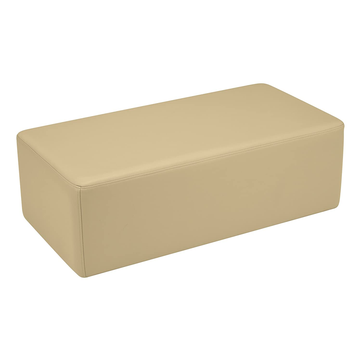 Sand 12  Sprogs Vinyl Soft Seating Rectangle Stool Bench, 18  H, Sand, SPG-1011SD-A