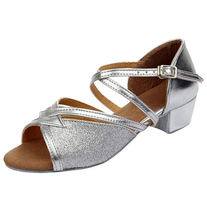 Vovotrade Kinder Mädchen drehen Cross Bandage Latin Dance Tango Tanzschuhe Tanzschuhe üben Schuhe Prinzessin Schuhe einzelne