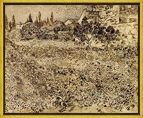 (Berkin Arts Framed Vincent Van Gogh Giclee Canvas Print Paintings Poster Reproduction(A Garden in Provence) #XLK)