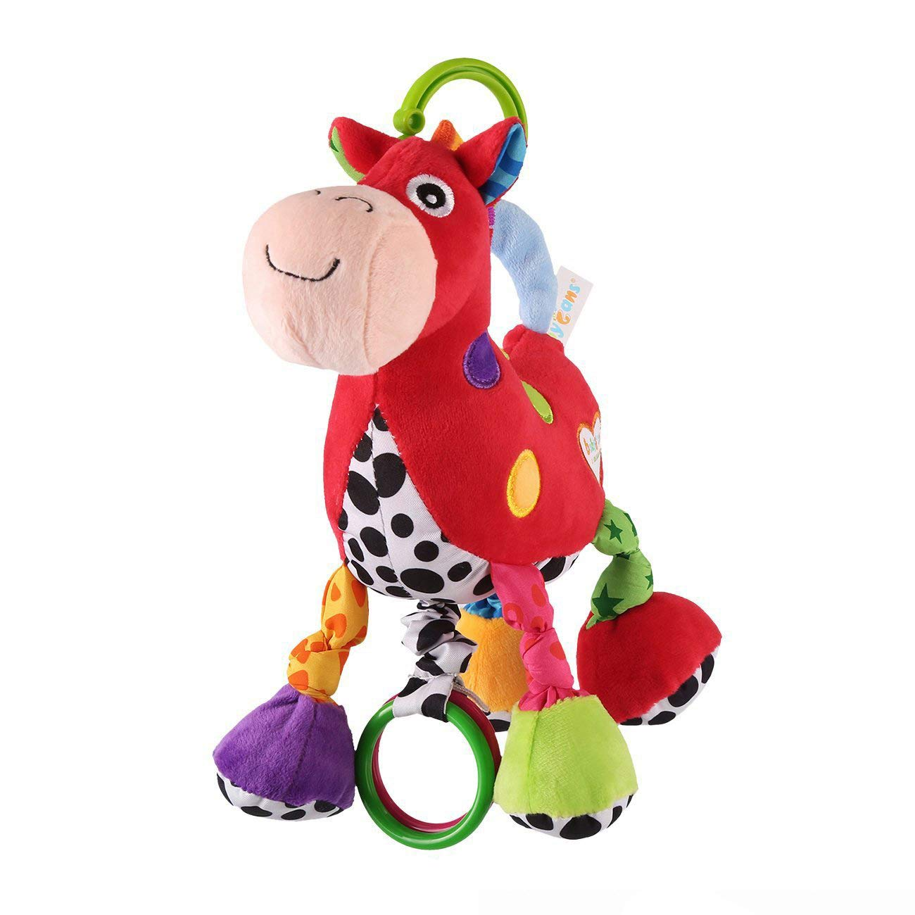 Baby Stroller Hanging Toy, Cartoon Horse Music Crib Toy, Plush Pull Bell Sensory Car Seat Activity Toy for Infant Toddler Baby Boys Girls Kids Children by Jepeak