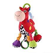 Baby Stroller Hanging Toy, Cartoon Horse Music Crib Toy, Plush Pull Bell Sensory Car Seat Activity Toy for Infant Toddler Baby Boys Girls Kids Children