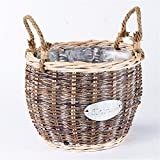 EXDJ Rattan Wicker Creative Flower basket pure hand-woven potted pot home decoration products,A,17X17cm