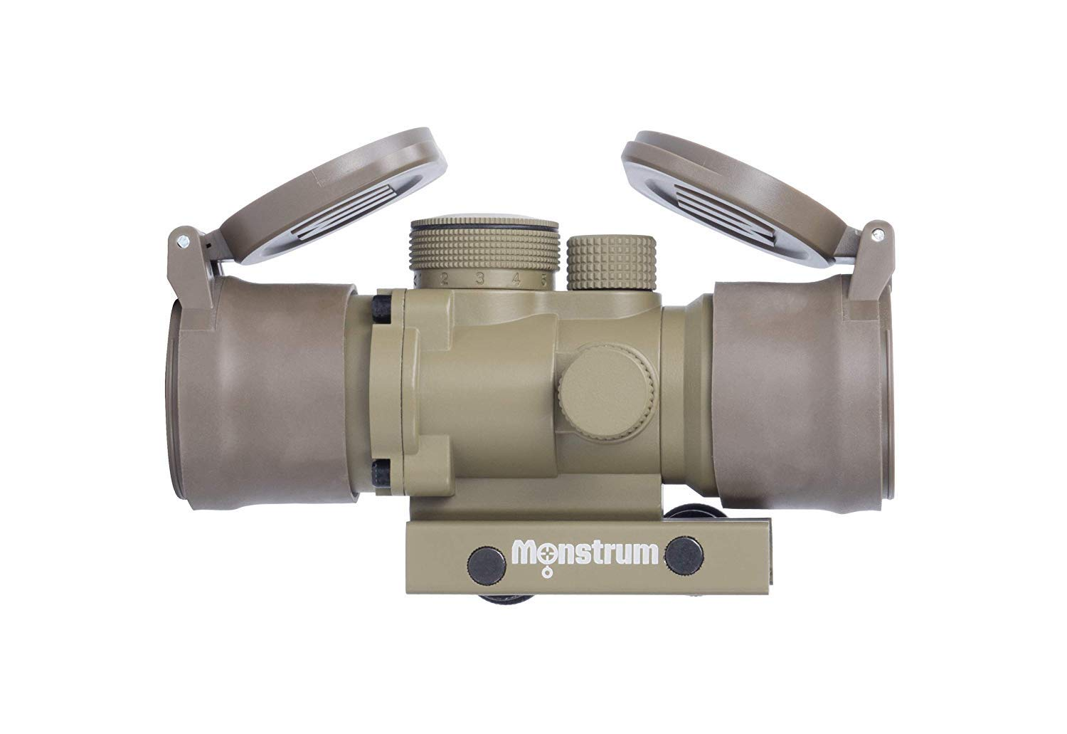 Monstrum S330P 3X Prism Scope | Flat Dark Earth with Flip-Up Lens Covers by Monstrum