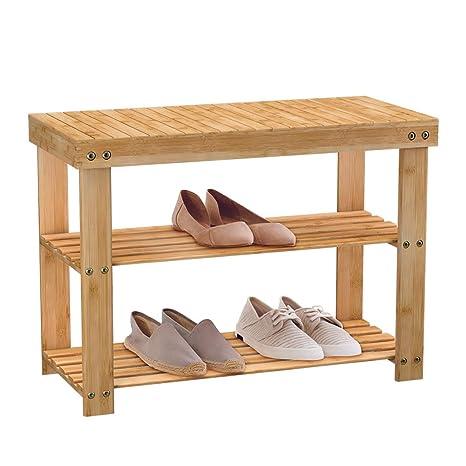 574e604b22 Amazon.com: NewRidge Home Goods HX-73016C Seat with Storage Shelf, Brown:  Kitchen & Dining