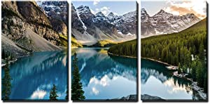 wall26 - 3 Piece Canvas Wall Art - Landscape View of Moraine Lake and Mountain Range at Sunset in Canadian Rocky Mountains - Modern Home Art Stretched and Framed Ready to Hang - 16