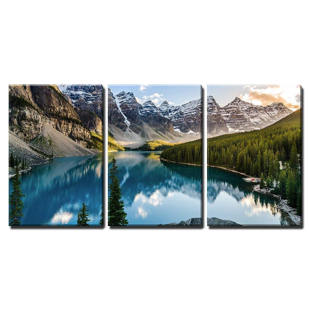 "wall26 - 3 Piece Canvas Wall Art - Landscape View of Moraine Lake and Mountain Range at Sunset in Canadian Rocky Mountains - Modern Home Decor Stretched and Framed Ready to Hang - 24""x36""x3 Panels"