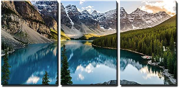 "wall26 - 3 Piece Canvas Wall Art - Landscape View of Moraine Lake and Mountain Range at Sunset in Canadian Rocky Mountains - Modern Home Art Stretched and Framed Ready to Hang - 16""x24""x3 Panels"
