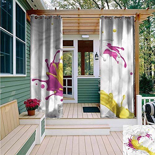 Beihai1Sun Outdoor Grommet Window Curtain,Colorful Mixed Drink Splash,Waterproof Patio Door Panel,W108x108L -