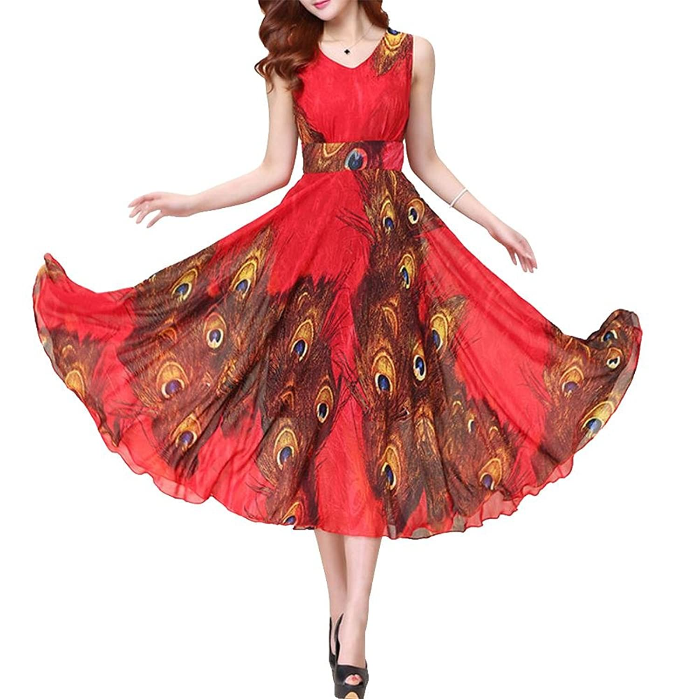 Bohemian Womens Chiffon Peacock Print Summer Beach Sleeveless Maxi Dress