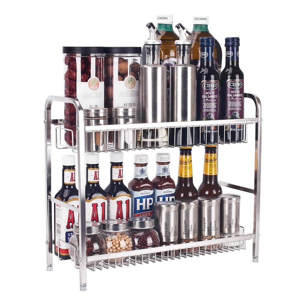 2-Layer Seasoning Rack Kitchen Counter Storage Rack for Condiment Storage 42×17×36.5Cm