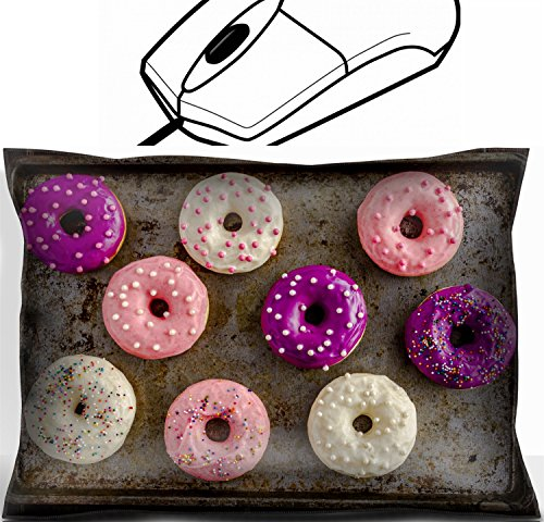 Price comparison product image MSD Mouse Wrist Rest Office Decor Wrist Supporter Pillow design 35479828 Assortment of homemade vanilla bean donuts with colorful icing sitting on metal baking pan