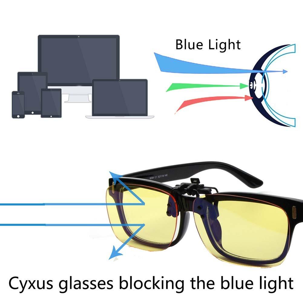 Cyxus Filtro blu chiaro (Clip On) Occhiali Computer Blocco UV,Anti Eye Strain Unisex Occhiali da lettura (Taglia larga)