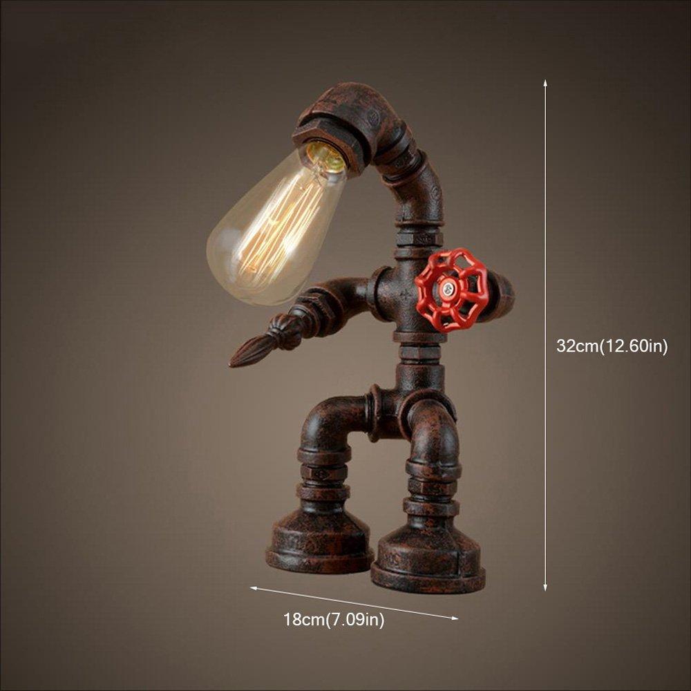 XSPWXN American Vintage Steampunk Tischleuchte Schreibtischlampen Wasserpfeife Roboter rustikale industrielle Tischlampe 1-Licht Lampenschirm Schreibtisch Akzent Lampen f/ür Bett Seite Lesesaal