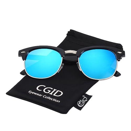 7e8adee1ba CGID Clubmaster Premium Classic Inspired Half Frame Horn Semi-Rimless  Rimmed Sunglasses with Metal Rivets
