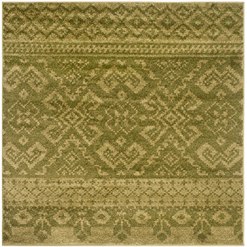 Safavieh Adirondack Collection ADR107D Green and Dark Green Rustic Bohemian Square Area Rug (6' Square)
