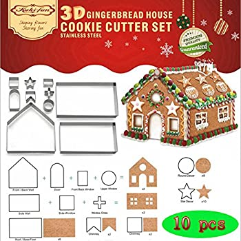 Set Of 10 Gingerbread House Cookie Cutter Set Bake Your Own Small Gingerbread House Kit Chocolate House Haunted House Gift Box Packaging