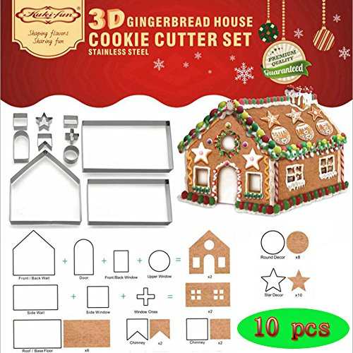 (Set of 10) Gingerbread House Cookie Cutter Set, Bake Your Own Small Gingerbread House Kit, Chocolate House, Haunted House, Gift Box -
