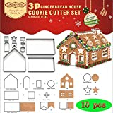 Sakolla(Set of 10) Gingerbread House Cookie Cutter Set Bake Your Own Small Gingerbread House Kit Chocolate House