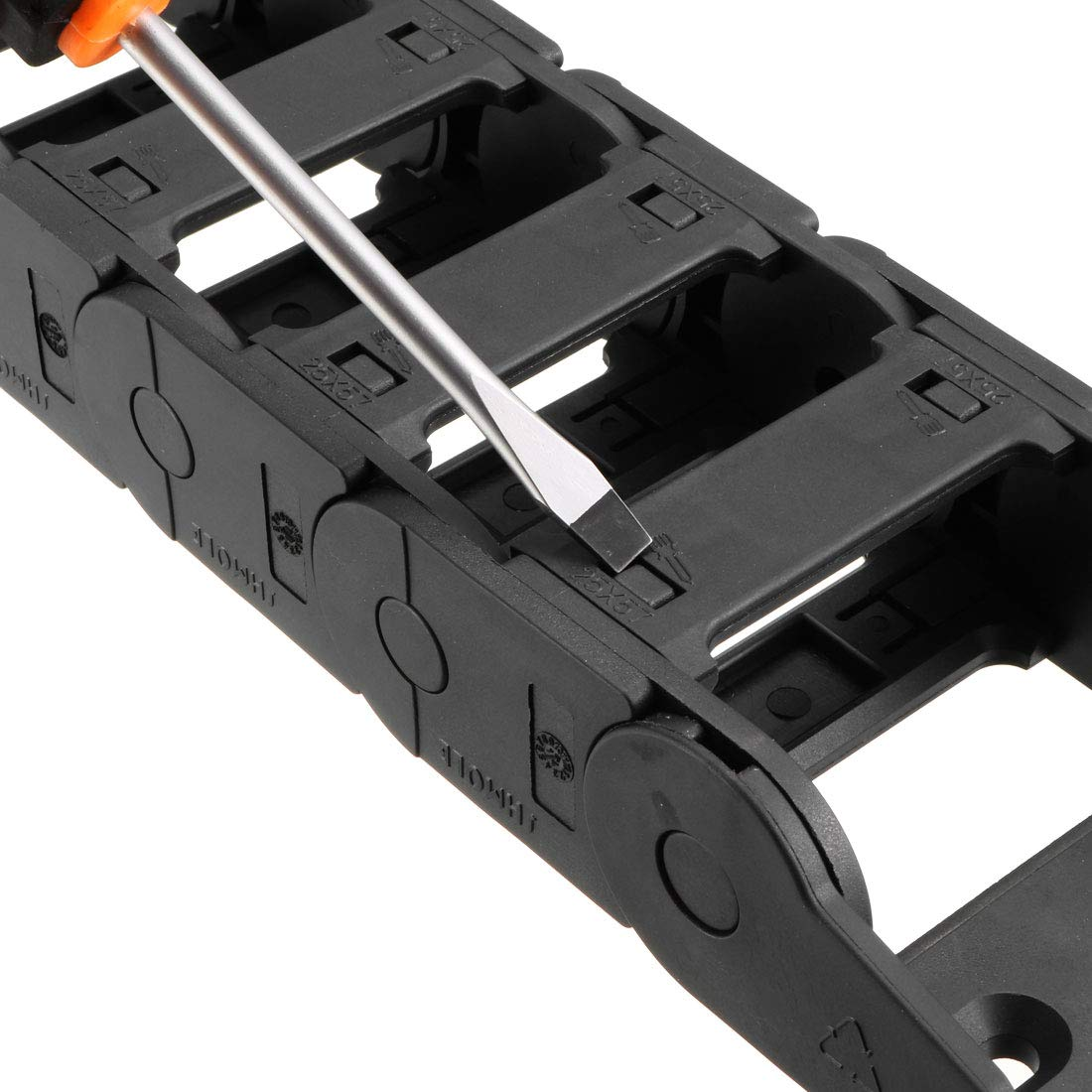 uxcell Drag Chain Cable Carrier Open Type with End Connectors R100 35X100mm 1 Meter Plastic for Electrical CNC Router Machines Black