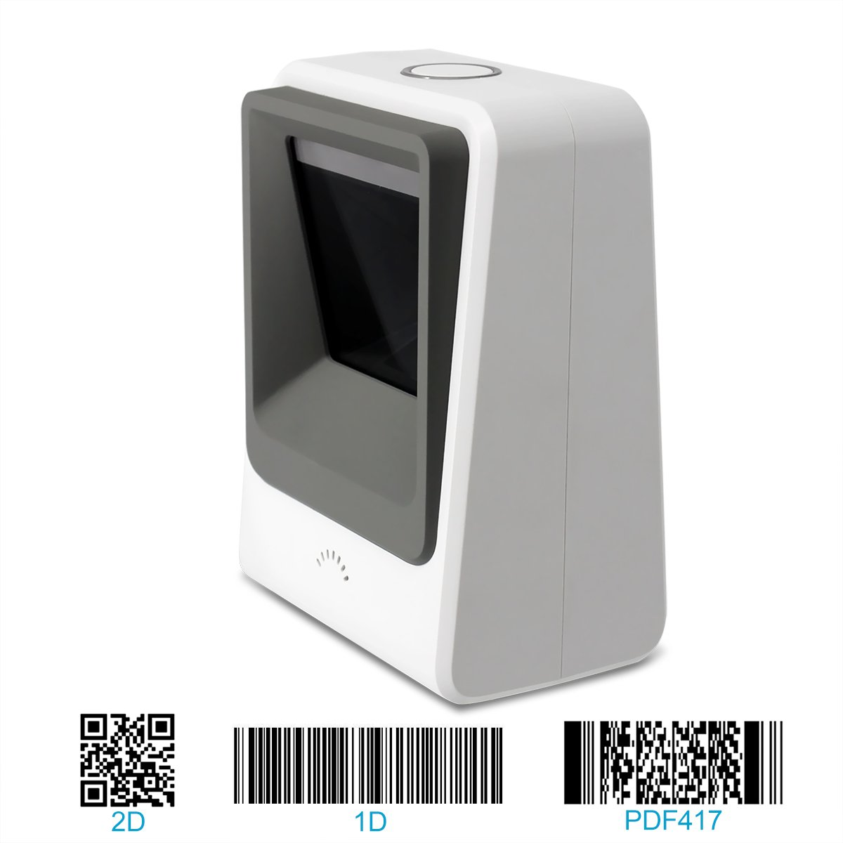 2D Barcode Scanner Omnidirectional Hands-Free Automatic Bar Code Readers, 1D 2D Barcode Scanner QR PDF417 Data Matrix UPC Rechargeable Bar Code Scanner for Laptops/PC/Android/Apple iOS BarcodeScanner.