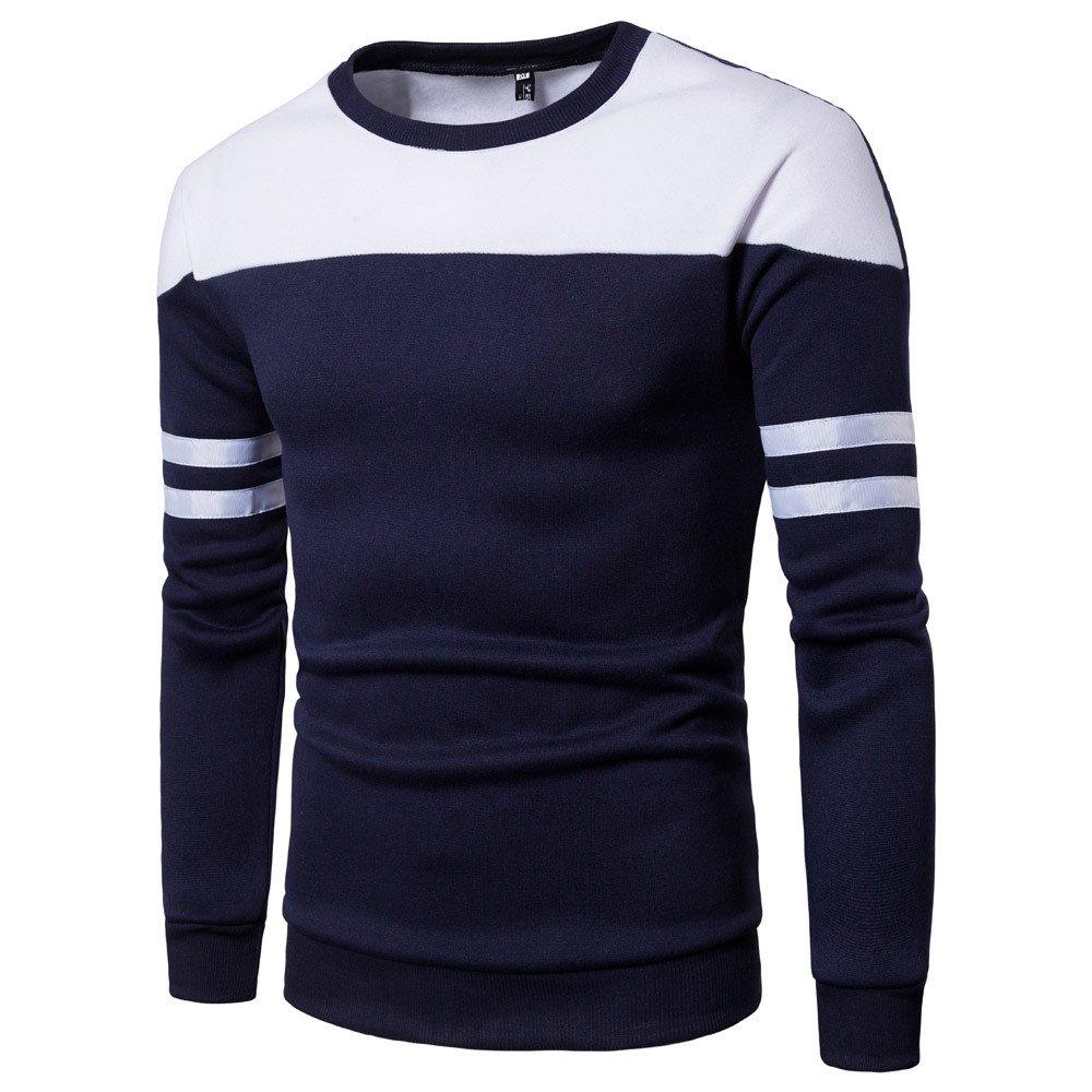Sweatshirt Hommes Manadlian T-Shirt À Manches Longues Patchwork Coton Col Rond Tops Automne et Hiver Chemise Casual Outwear Blouse