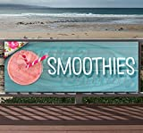 SMOOTHIES 13 oz heavy duty vinyl banner sign with metal grommets, new, store, advertising, flag, (many sizes available)