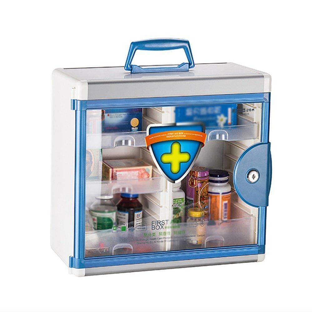+ 薬箱家族の多機能大救急箱アルミニウム合金密封薬箱壁に取り付けられた携帯用錠剤の薬箱 ## (色 : 青)  青 B07KJDG612