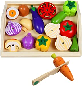 Mango Town Wooden Fruit and Vegetables Toy for Children Cut Vegetables Toy Pretend Play Food Toys Kitchen Food Toys for Kids
