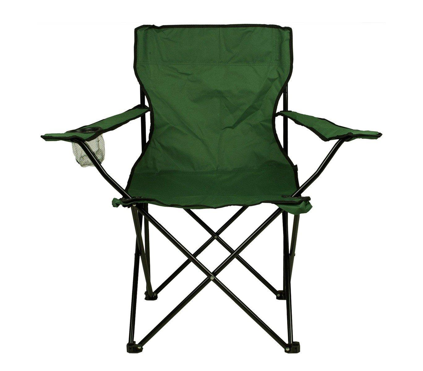 MEDIA WAVE store 2971 Sedia Pieghevole da Campeggio e Giardino Miami con Porta Bicchiere di Colore Verde
