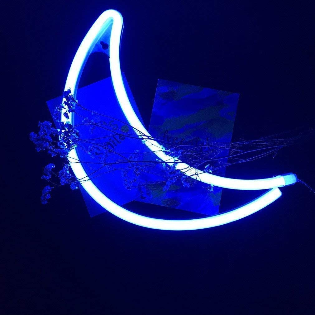 Moon Neon Sign Decorative LED Night Light Art Wall Decor for Boys Room Birthday Party Decor Powered by Battery//USB Blue