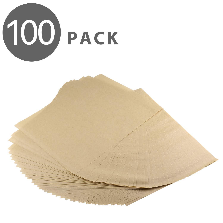 """Flexzion Non-Stick Parchment Paper Pre-Cut Kitchen Baking Sheets, Oven Safe Heat-Resistant Oil-Proof Toxic-Free Bio-Degradable, for Pastries/Cakes/Pizzas, 100% Unbleached Wood Pulp, 12 x 16"""", 100 Pcs"""