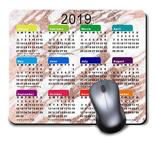 Chic Elegant White and Rose Gold Marble 2019 Calendar mouse pad Custom Mouse Pad Waterproof Material Non-Slip Rubber Mouse Pad(9.45x7.87x0.08inch) for Office Desktop or Gaming Mouse Mat Keyboard Pad -