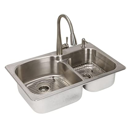 glacier bay all in one dual mount stainless steel 33 in 2 hole rh amazon com