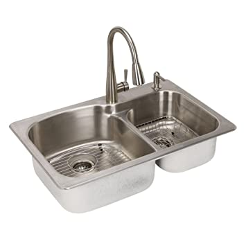 Glacier Bay All-in-one Dual Mount Stainless Steel 33 In. 2-hole ...