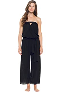 1104e83cea11 Becca by Rebecca Virtue Women s Lace Inset Strapless Jumpsuit Swim ...