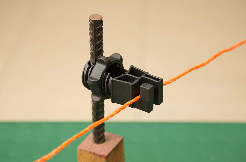 Gemi Elettronica Aisladores para postes de Hierro 100 piezas para Pastor eléctrico Cerca eléctrica Valla eléctrica Valla electrificada para animales jabalí vacas caballos perros cerdos