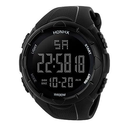Logobeing Reloj Deportivo Digital Para Hombre - Al Aire Libre 30 M Impermeable Militar Reloj Cronógrafo, Led y Alarma (Blanco): Amazon.es: Relojes