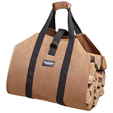 Firewood Log Carrier Waxed Canvas Wood Tote Bag Large Fireplace Fire Wood Log Carrying Sturdy Log Tote Bag Wood Holder with Handles Security Strap for Outdoor Fire Pit Camping Fireplace Accessories