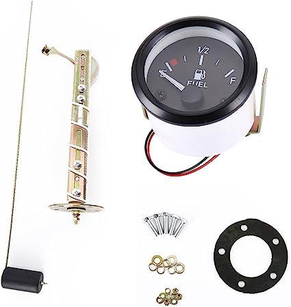 """2/"""" 52mm Fuel Level Gauge Meter With Fuel Sensor E-1//2-F Pointer Kit"""