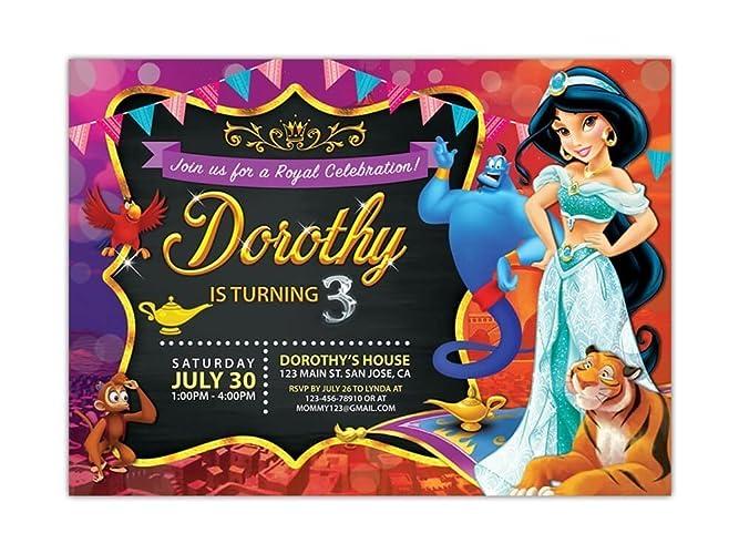 Princess Jasmine Birthday Party Invitations ANY AGE Custom