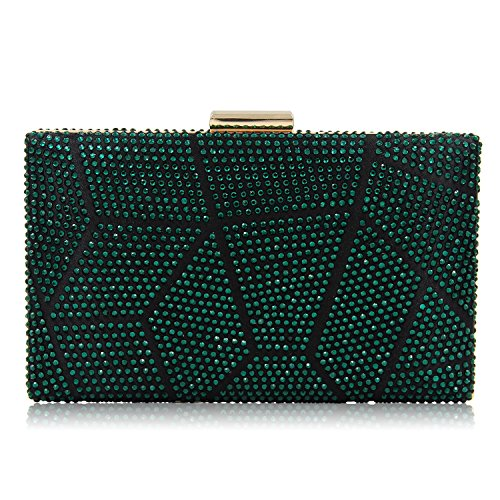 TuTu Women Clutch Ladies Crystal Evening Bags Two Side Party Bag Female Wedding Clutch Purse With Long and Short Chains green