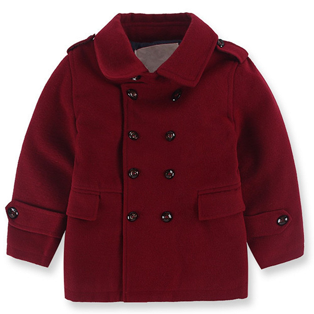 QJH Kids Boys'Wool Blend Duffle Coat Quilt Lined Winter Dress Pea Coat