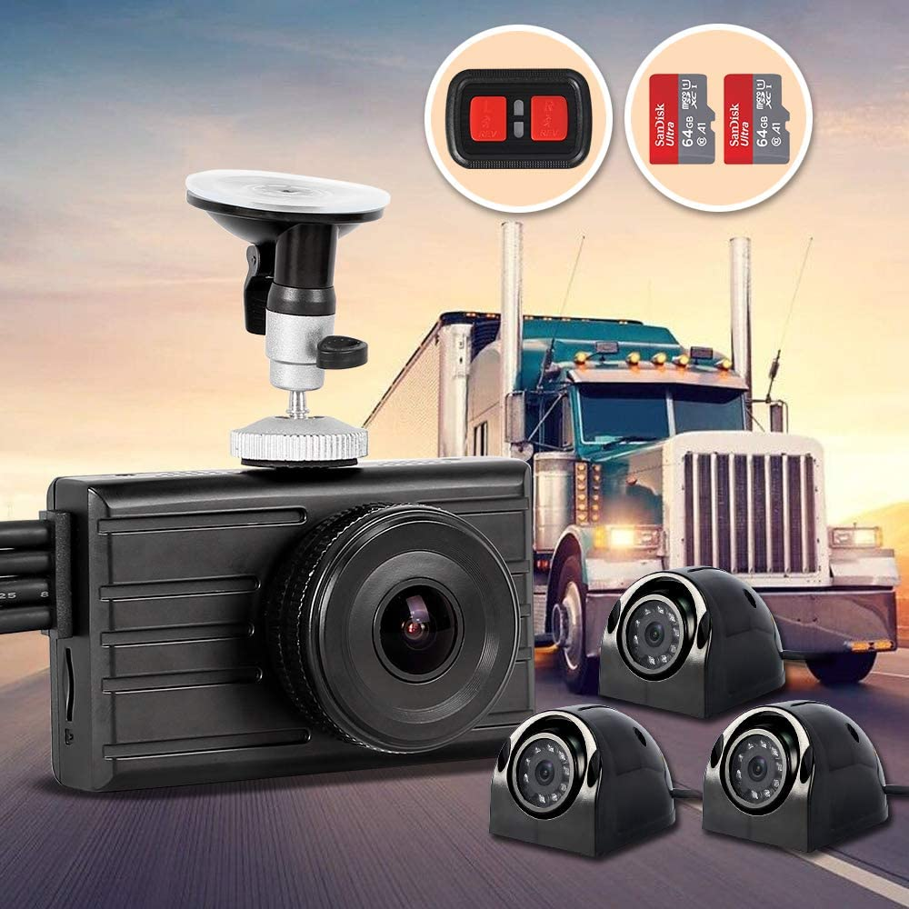 1080P+VGA3 Infrared Night Vision Vsysto X2VPro 1080P Dash Cam Backup Camera Loop Recording 4CH Waterproof Lens for Semi Truck//Bus//Trailer//Cars//Tractor//Van//RV DVR Recording System with G-Sensor