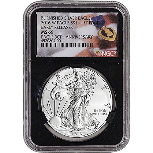 Ngc Certified Ms69 Early Release - 2016 W American Silver Eagle Burnished (1 oz) Early Releases Purple Heart Black Holder $1 MS69 NGC