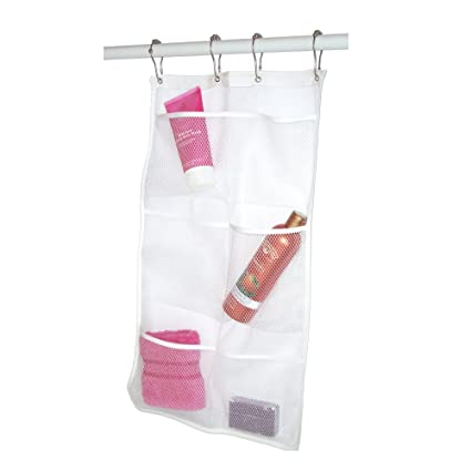 Amazon.com: Mesh Shower Caddy Hanging Shower Organizer With 4 Hooks: Home U0026  Kitchen