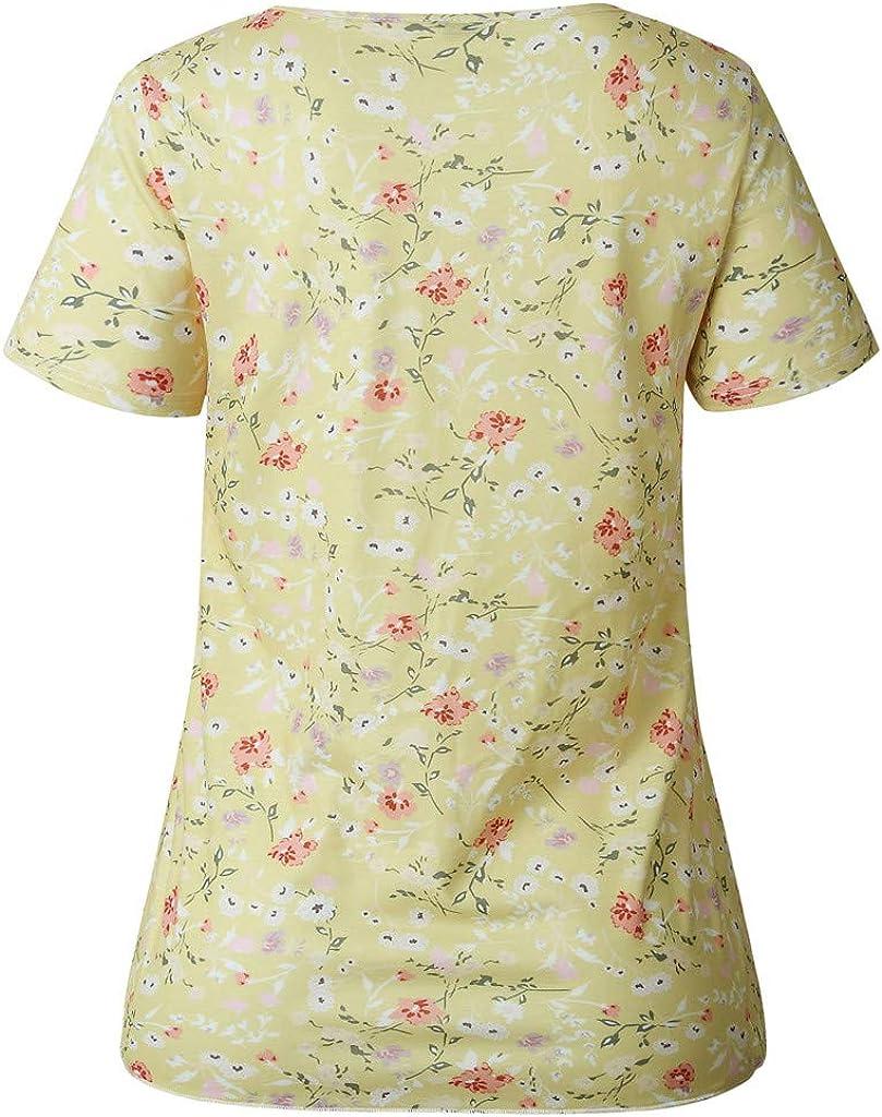 SANFASHION Bekleidung Maglia Estiva Nuova Moda Camicia 2019 Bottone Stampa a Tinta Unita Casual Scollo a V Signore Ampie e comode